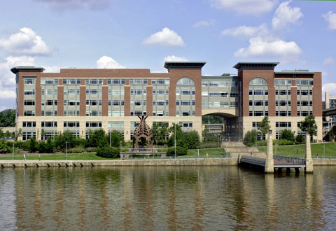 Exterior photo of the VA Healthcare-VISN 4 offices located next to the Allegheny River.