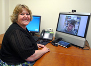 VA Butler Social Worker Sandy Beahm provides care for U.S. Army Veteran J. Anthony Cazzell during a Clinical Video Telehealth session.