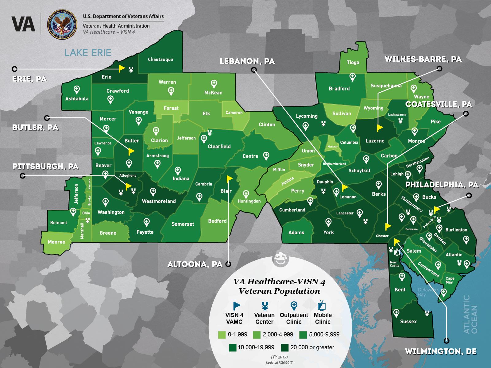 VA Healthcare-VISN 4 - Veteran Population and Service Area Map