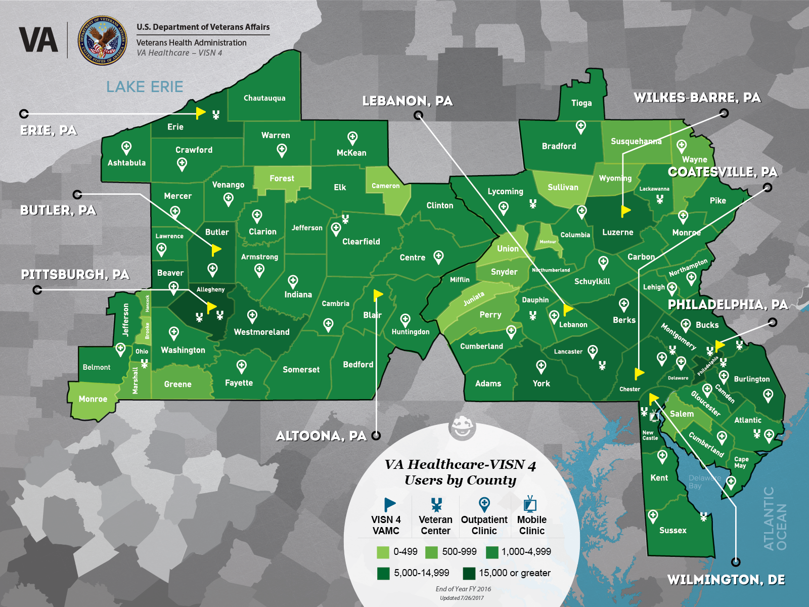 Map Of Ohio West Virginia And Pennsylvania.Va Healthcare Visn 4 Users By County
