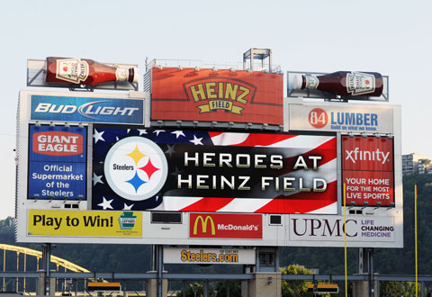 The scoreboard with the words Heroes at Heinz Field.